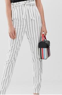 ASOS DESIGN Tall – Pantalon carotte fuselé en lin noué à la taille