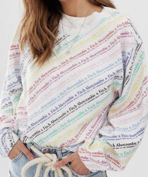 Abercrombie & Fitch – Sweat-shirt décontracté à logo arc-en-ciel