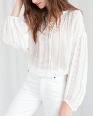 Sheer Stripe Tie Blouse white and other stories