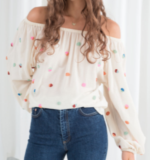 Billowy Embroidered Bardot Blouse and other stories