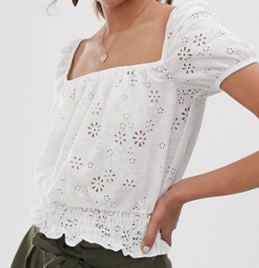 Miss Selfridge – Top en broderie anglaise à encolure carrée – Blanc