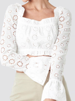Flared Cuff Cropped Top White Milena Karl x NA-KD