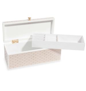Boîte à bijoux motifs graphiques blancs et dorés Maisons du Monde