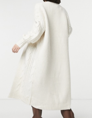 ASOS DESIGN – Cardigan confort en maille torsadée – Crème